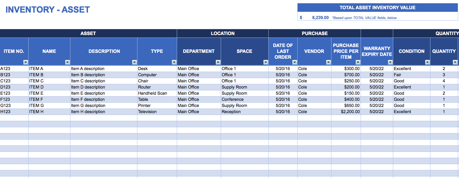 Samples Of Asset Inventory Template Excel In Asset Inventory Template Excel For Google Sheet