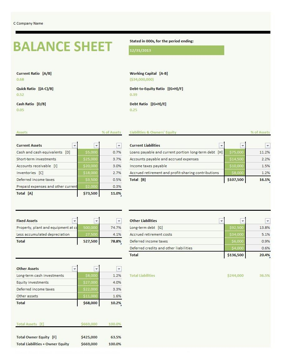 Samples Of Balance Sheet Template Excel Free Download In Balance Sheet Template Excel Free Download Examples