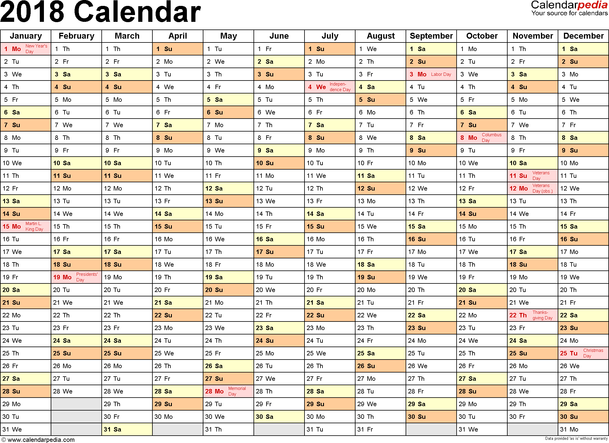 Samples Of Excel Calendar Template 2018 With Holidays And Excel Calendar Template 2018 With Holidays Letter