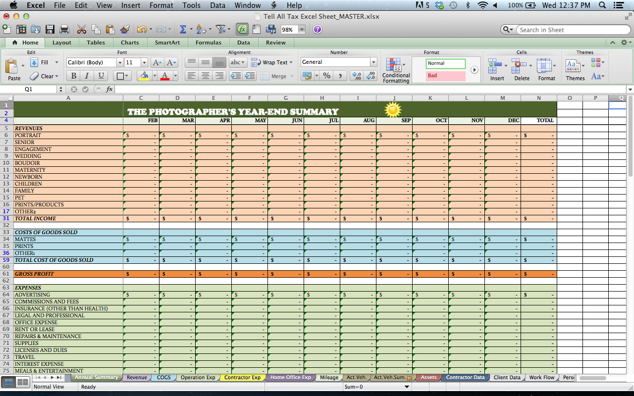 Samples Of Excel Templates For Photographers In Excel Templates For Photographers Download