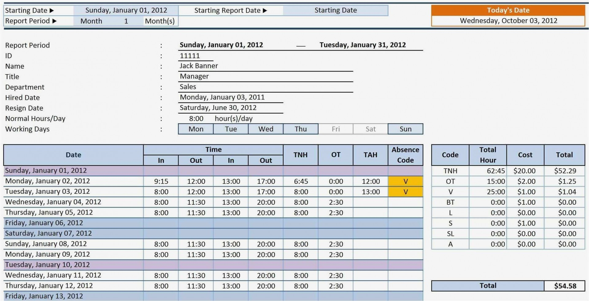 Samples Of Excel Timesheet Template With Formulas Inside Excel Timesheet Template With Formulas Printable