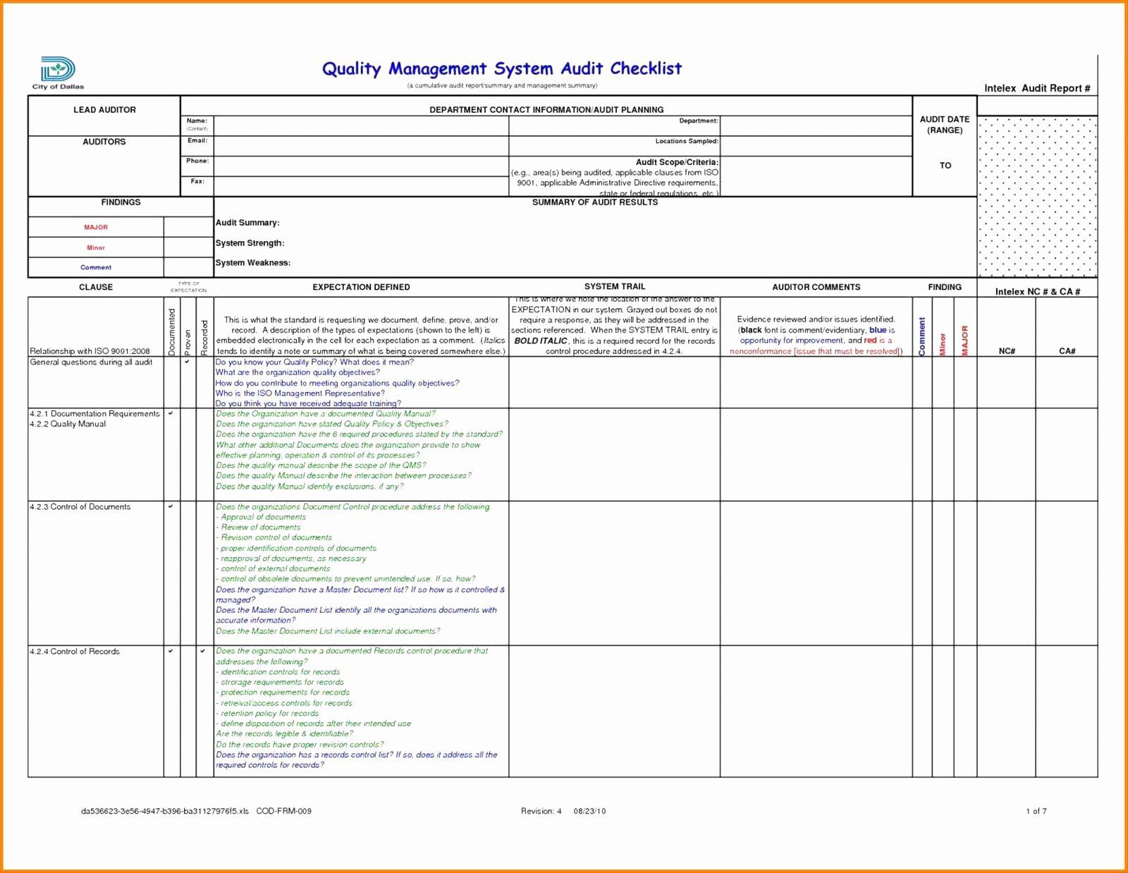 Samples Of Iso 9001 Audit Checklist Excel Xls Template Throughout Iso 9001 Audit Checklist Excel Xls Template Samples