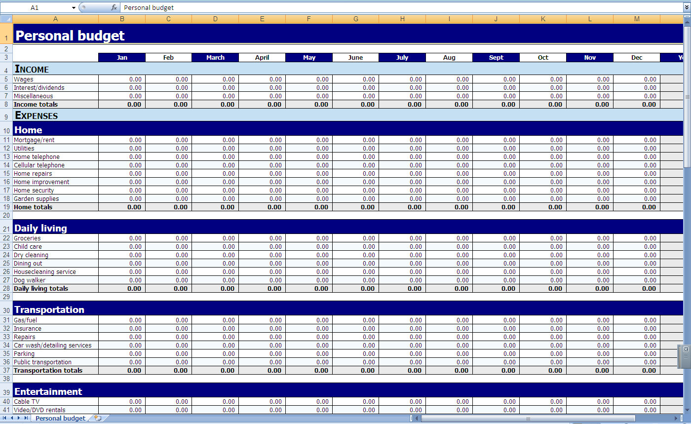 Samples Of Monthly Budget Excel Spreadsheet Template To Monthly Budget Excel Spreadsheet Template For Personal Use