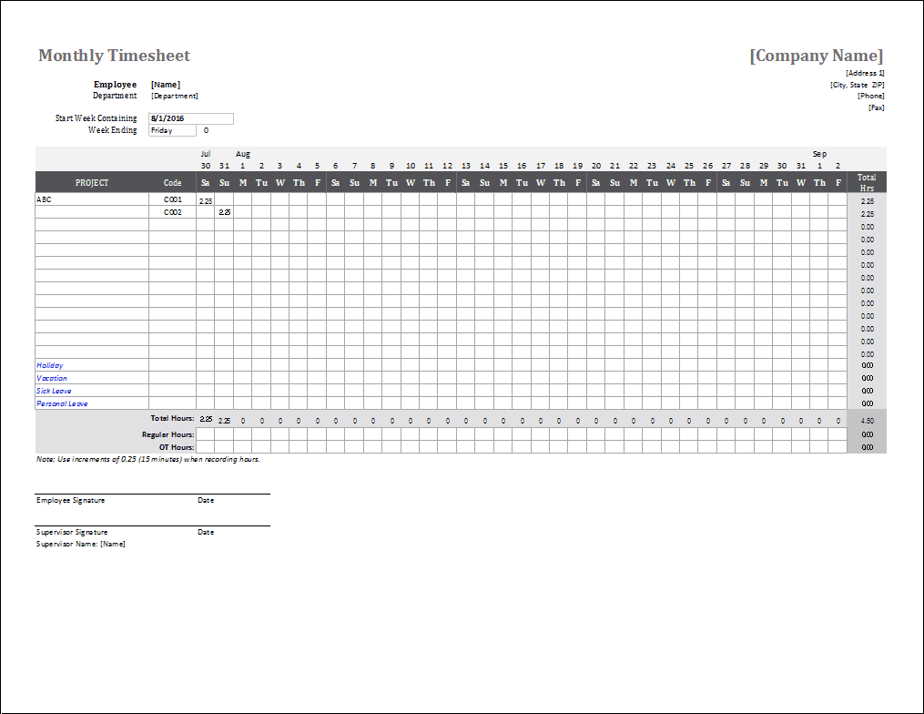 Samples Of Monthly Timesheet Template Excel For Monthly Timesheet Template Excel Format