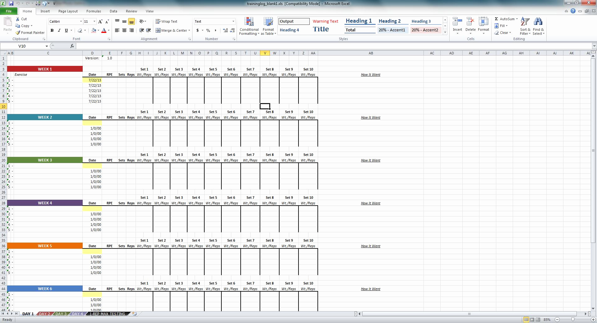 Samples Of Training Spreadsheet Template In Training Spreadsheet Template Template