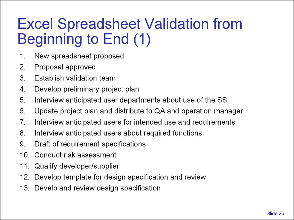 Samples Of Validation Of Excel Spreadsheets Gmp In Validation Of Excel Spreadsheets Gmp Format
