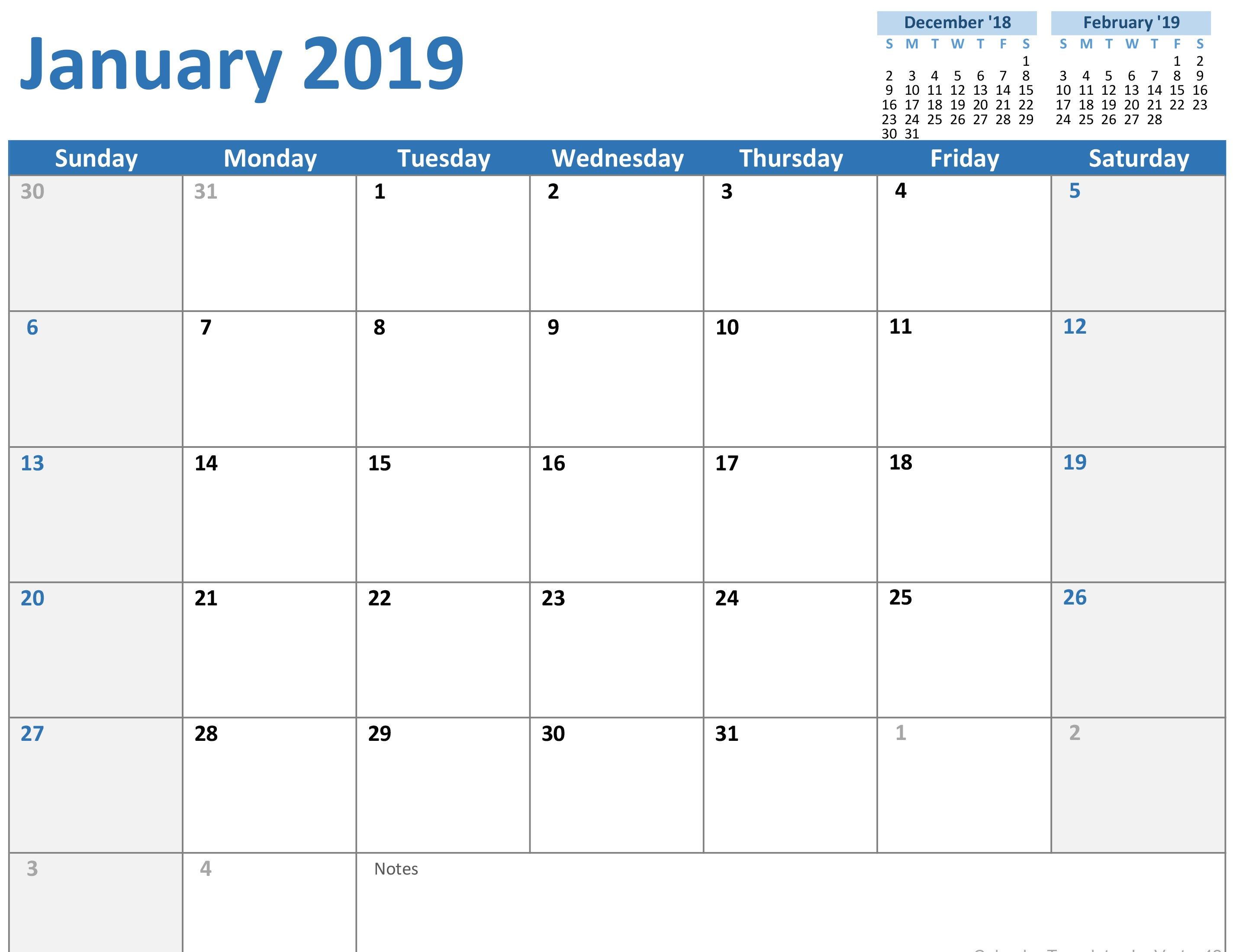 Simple 2019 Calendar Template Excel Intended For 2019 Calendar Template Excel Template