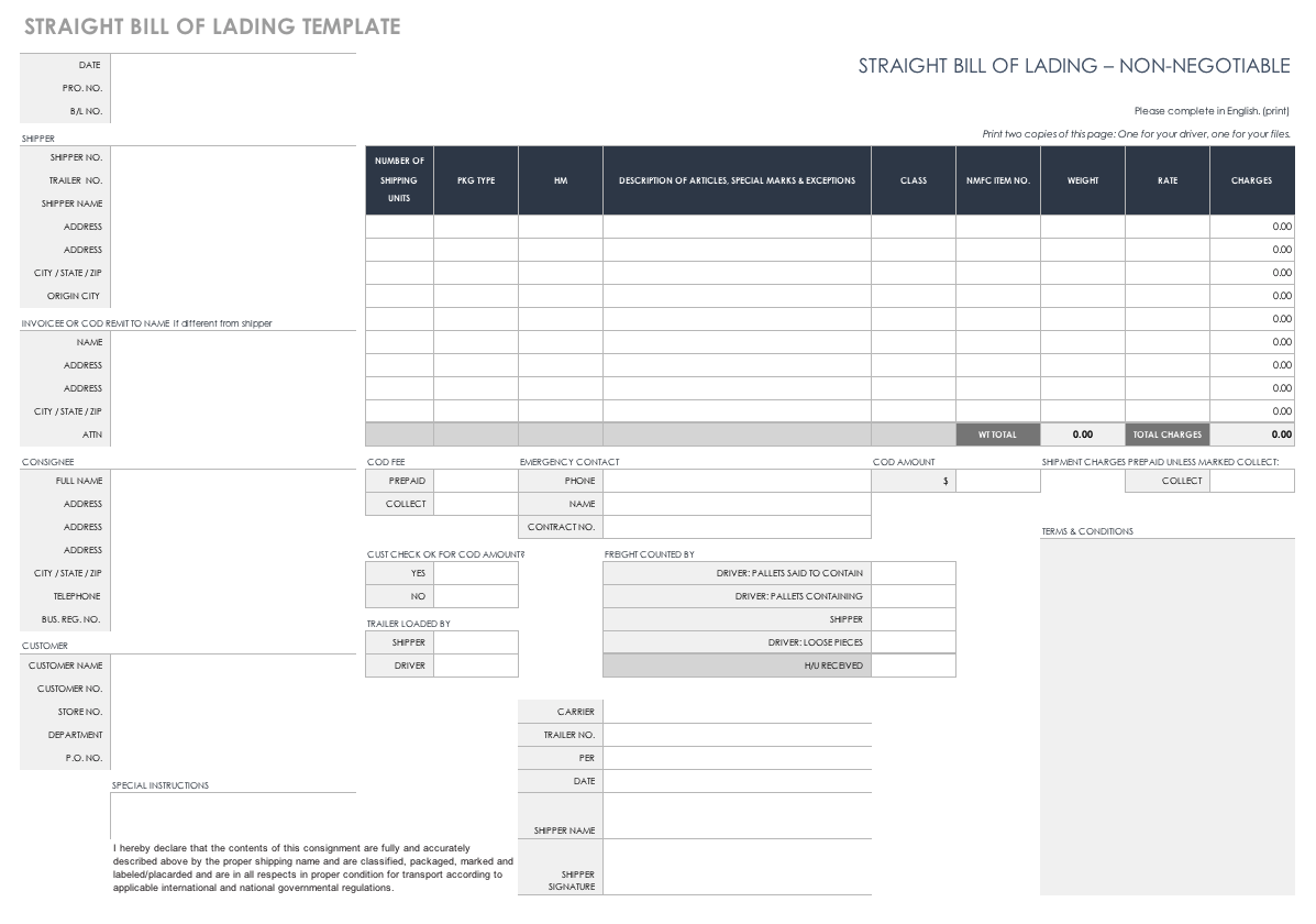 Simple Bill Of Lading Template Excel Inside Bill Of Lading Template Excel For Google Sheet