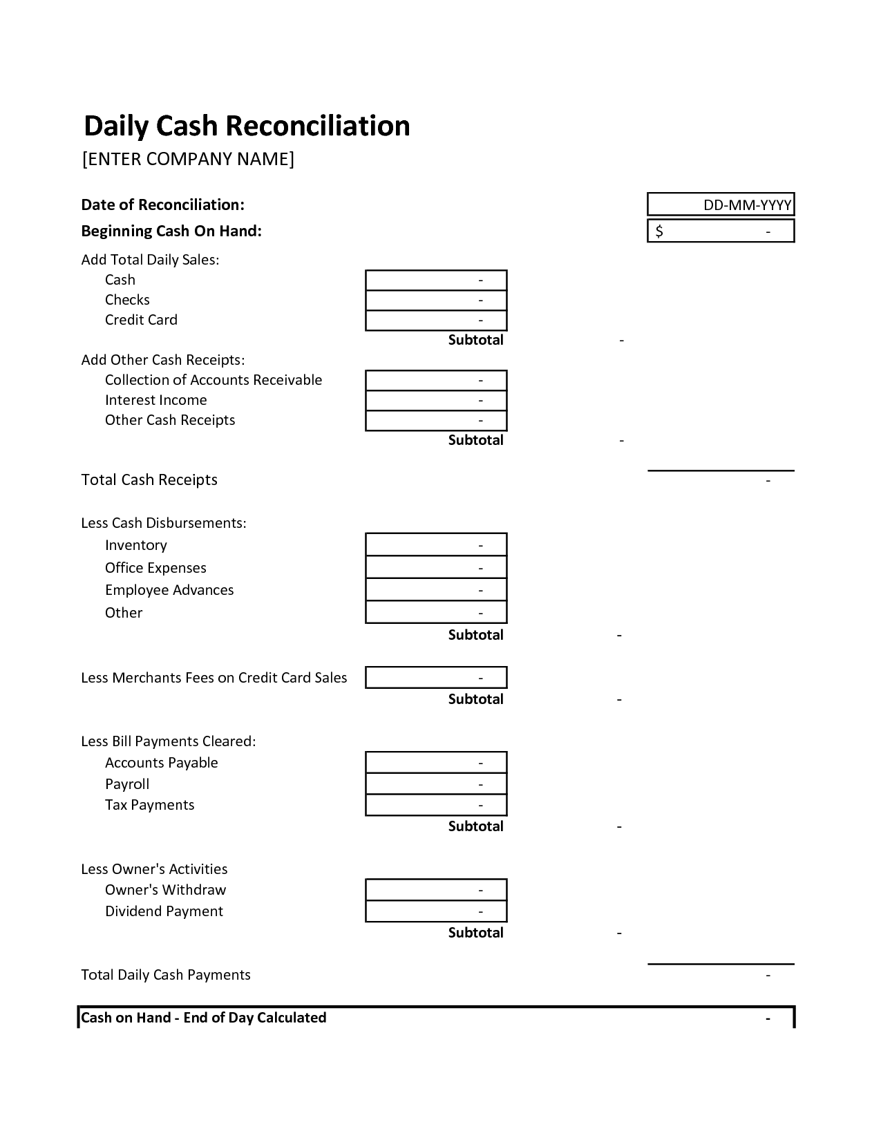Simple Daily Cash Reconciliation Excel Template Throughout Daily Cash Reconciliation Excel Template Download For Free