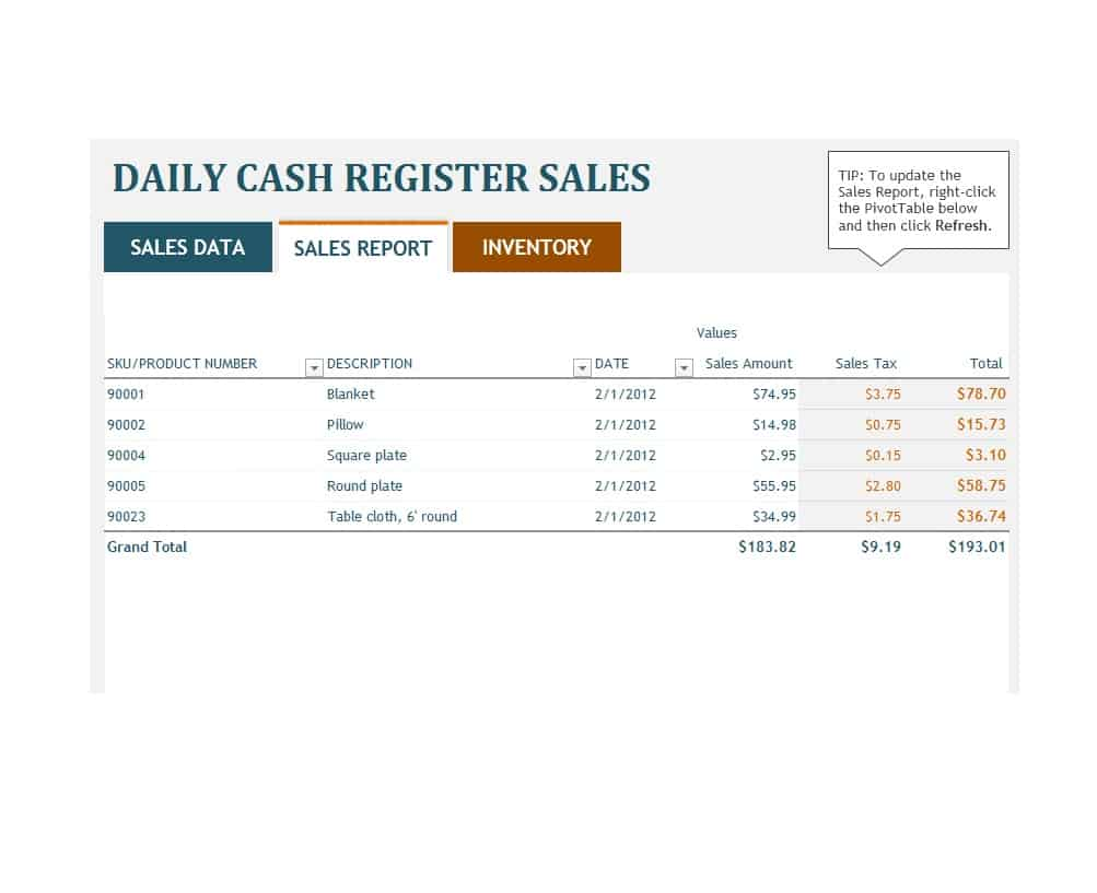 Simple Daily Sales Report Template Excel For Daily Sales Report Template Excel Xls