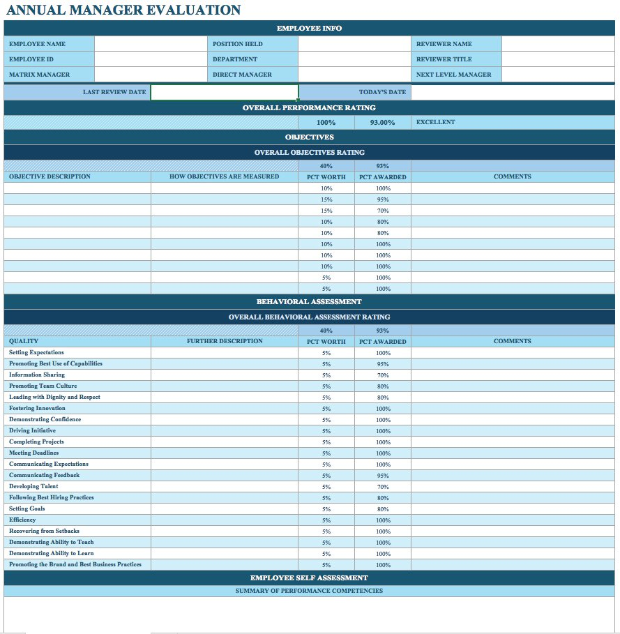 Simple Employee Performance Evaluation Template Excel Within Employee Performance Evaluation Template Excel Format