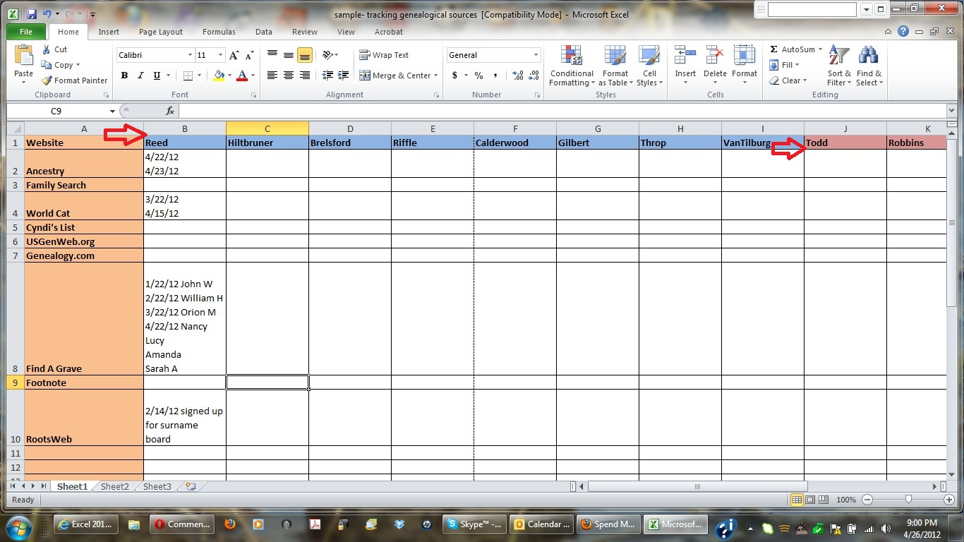 Simple Excel Genealogy Template In Excel Genealogy Template Letter
