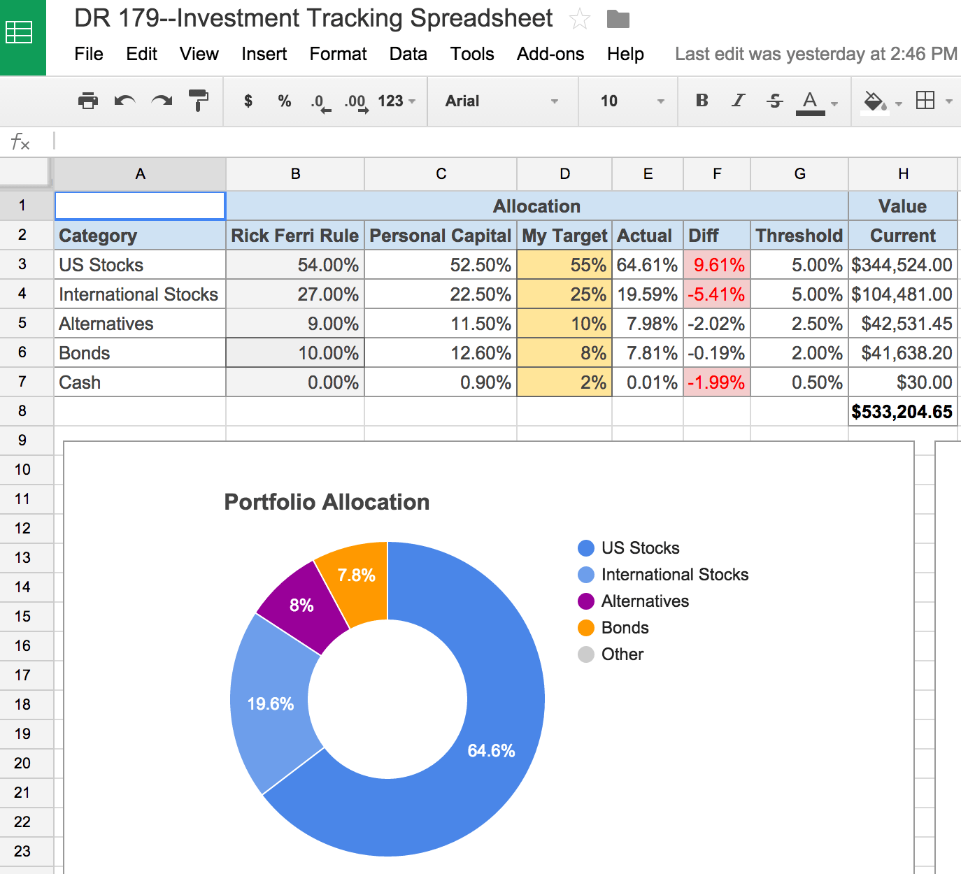 Simple Excel Spreadsheet Investment Tracking With Excel Spreadsheet Investment Tracking Example