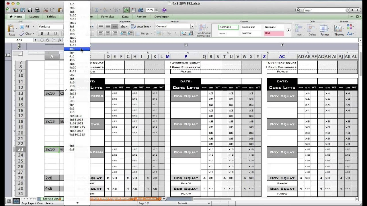 Simple Excel Workout Template And Excel Workout Template Example