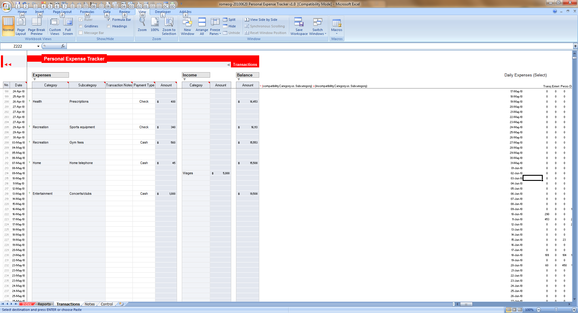 Simple Expense Tracker Template For Excel With Expense Tracker Template For Excel Printable