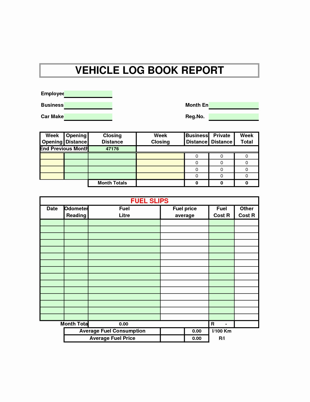 Simple Fuel Consumption Excel Template For Fuel Consumption Excel Template Printable