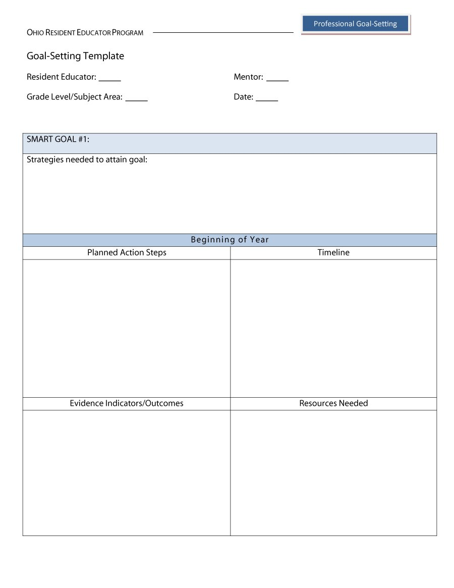 Simple Goal Setting Template Excel And Goal Setting Template Excel Document