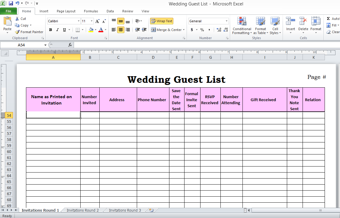 Simple Guest List Template Excel For Guest List Template Excel Templates