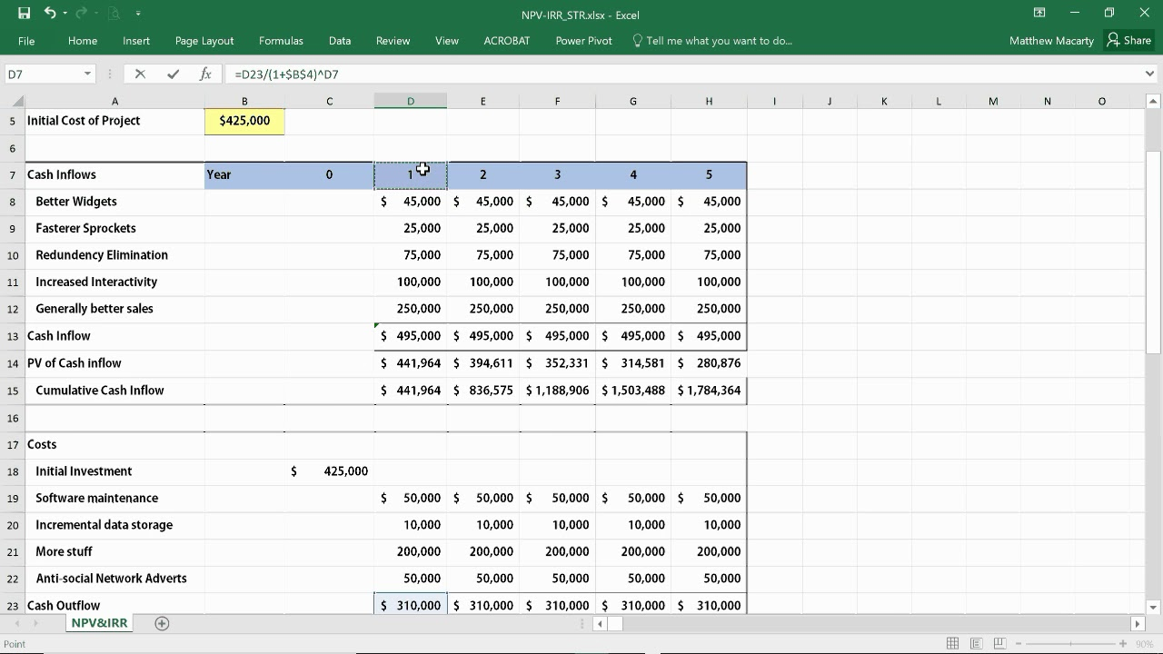 Simple Npv Excel Template With Npv Excel Template In Excel