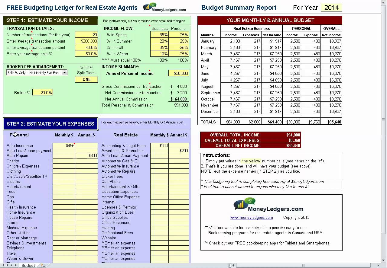 Simple Real Estate Agent Budget Template Excel Intended For Real Estate Agent Budget Template Excel For Google Spreadsheet