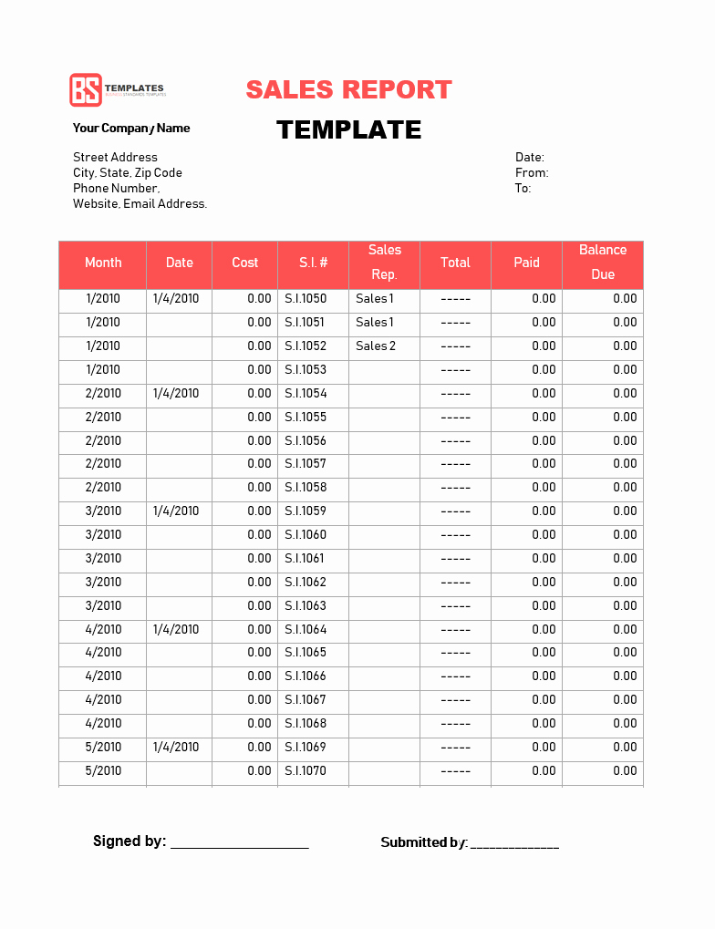 Simple Sales Report Template Excel With Sales Report Template Excel Format