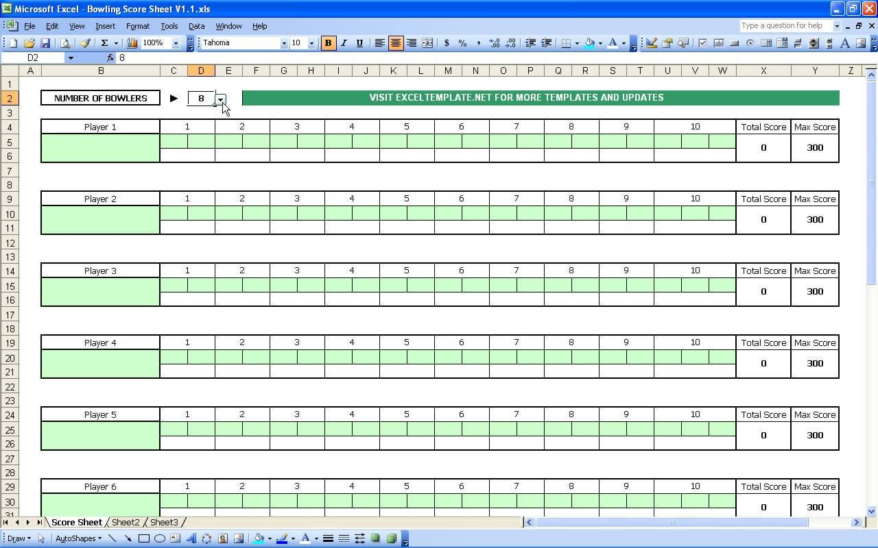 Simple Score Sheet Template Excel Throughout Score Sheet Template Excel Sheet