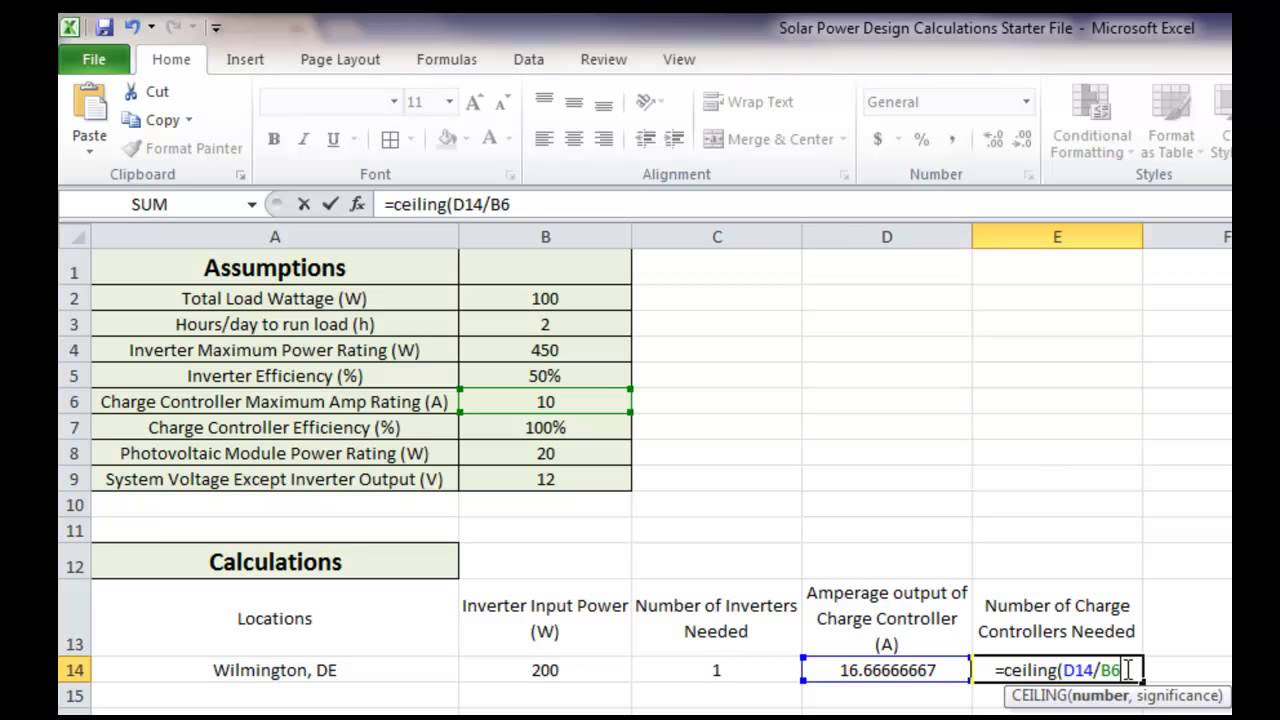 Simple Solar Power Calculator Spreadsheet Within Solar Power Calculator Spreadsheet Format