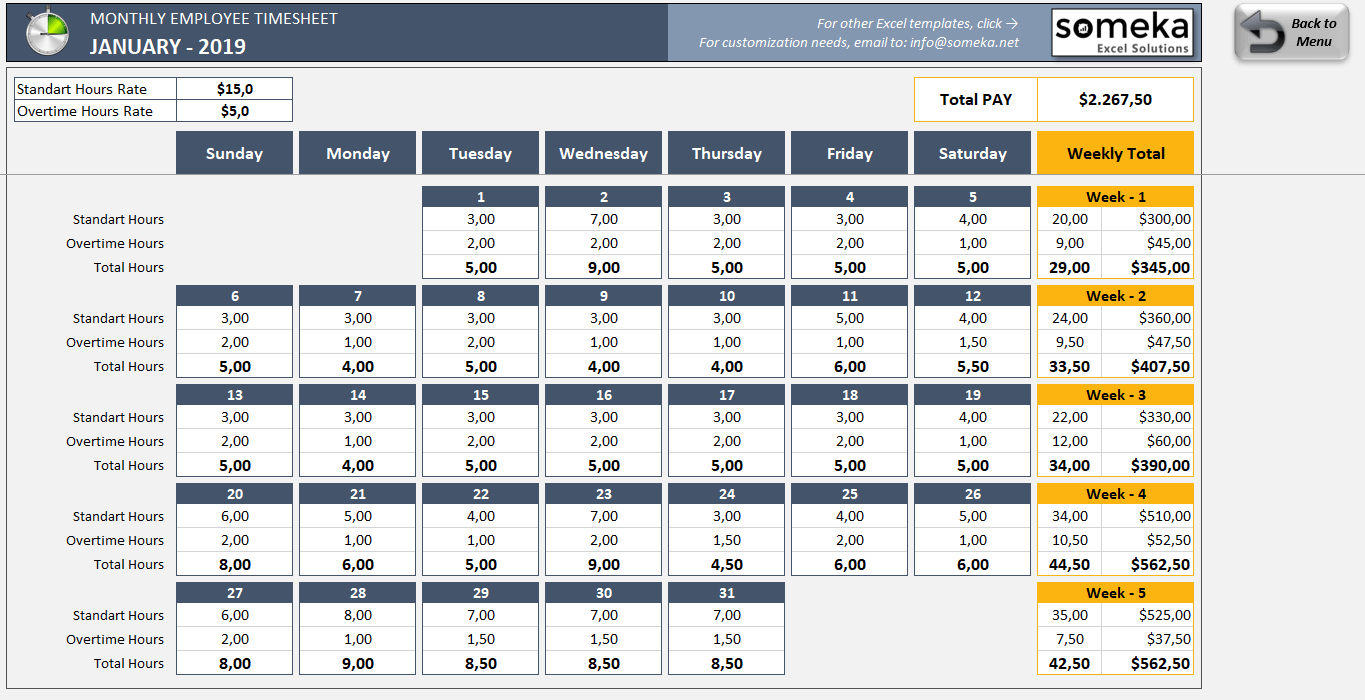 Simple Time Sheets Template Excel With Time Sheets Template Excel Examples
