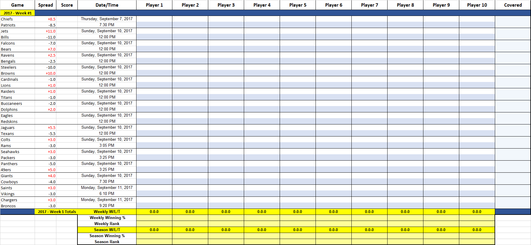 Template For 2017 Nfl Weekly Schedule Excel Spreadsheet With 2017 Nfl Weekly Schedule Excel Spreadsheet Template