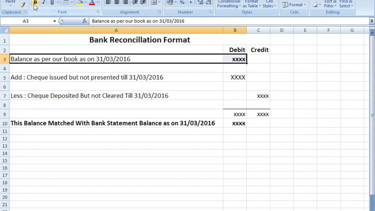 Template For Bank Reconciliation Template Excel And Bank Reconciliation Template Excel Download For Free