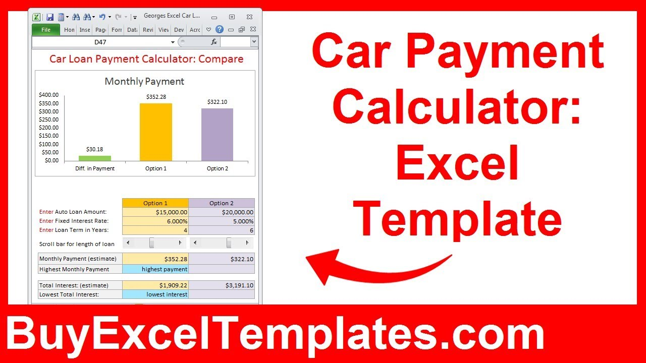 Template For Car Payment Calculator Excel Template To Car Payment Calculator Excel Template For Personal Use
