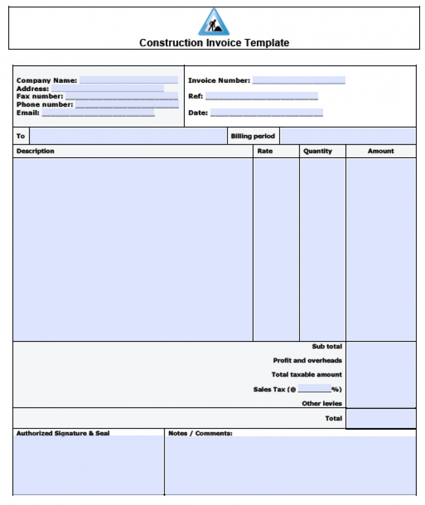 Template For Construction Invoice Template Excel Within Construction Invoice Template Excel For Personal Use