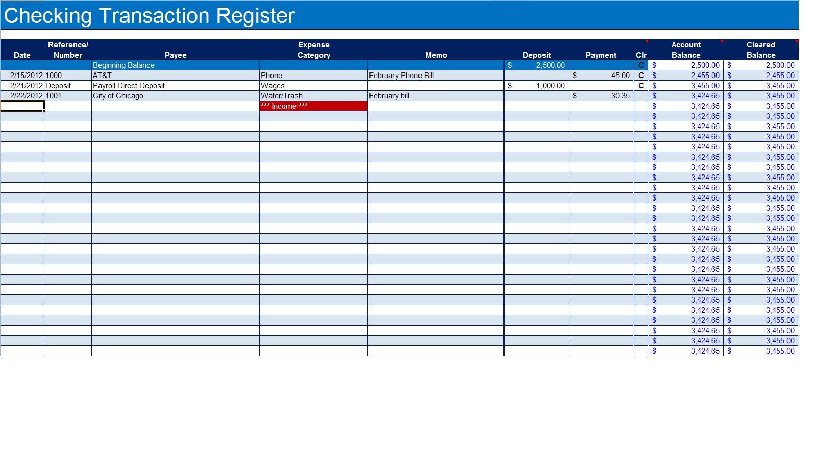 Template For Excel Checkbook Register Template In Excel Checkbook Register Template Examples