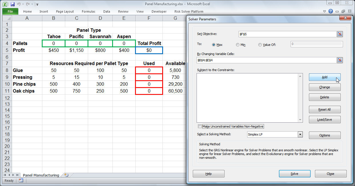 Template For Excel Solver Example In Excel Solver Example Sample