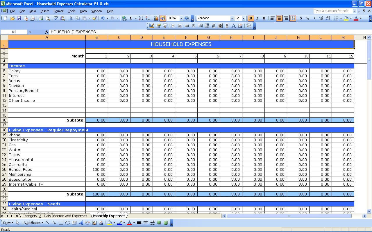 Template For Expense Worksheet Excel Throughout Expense Worksheet Excel Example