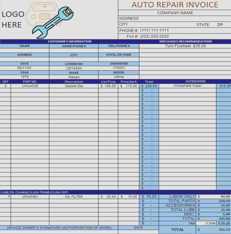 Template For Free Auto Repair Invoice Template Excel Inside Free Auto Repair Invoice Template Excel For Free
