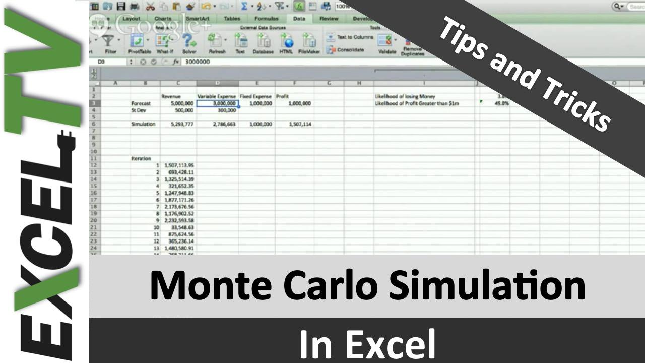 Template For Monte Carlo Simulation Excel Example Intended For Monte Carlo Simulation Excel Example Document
