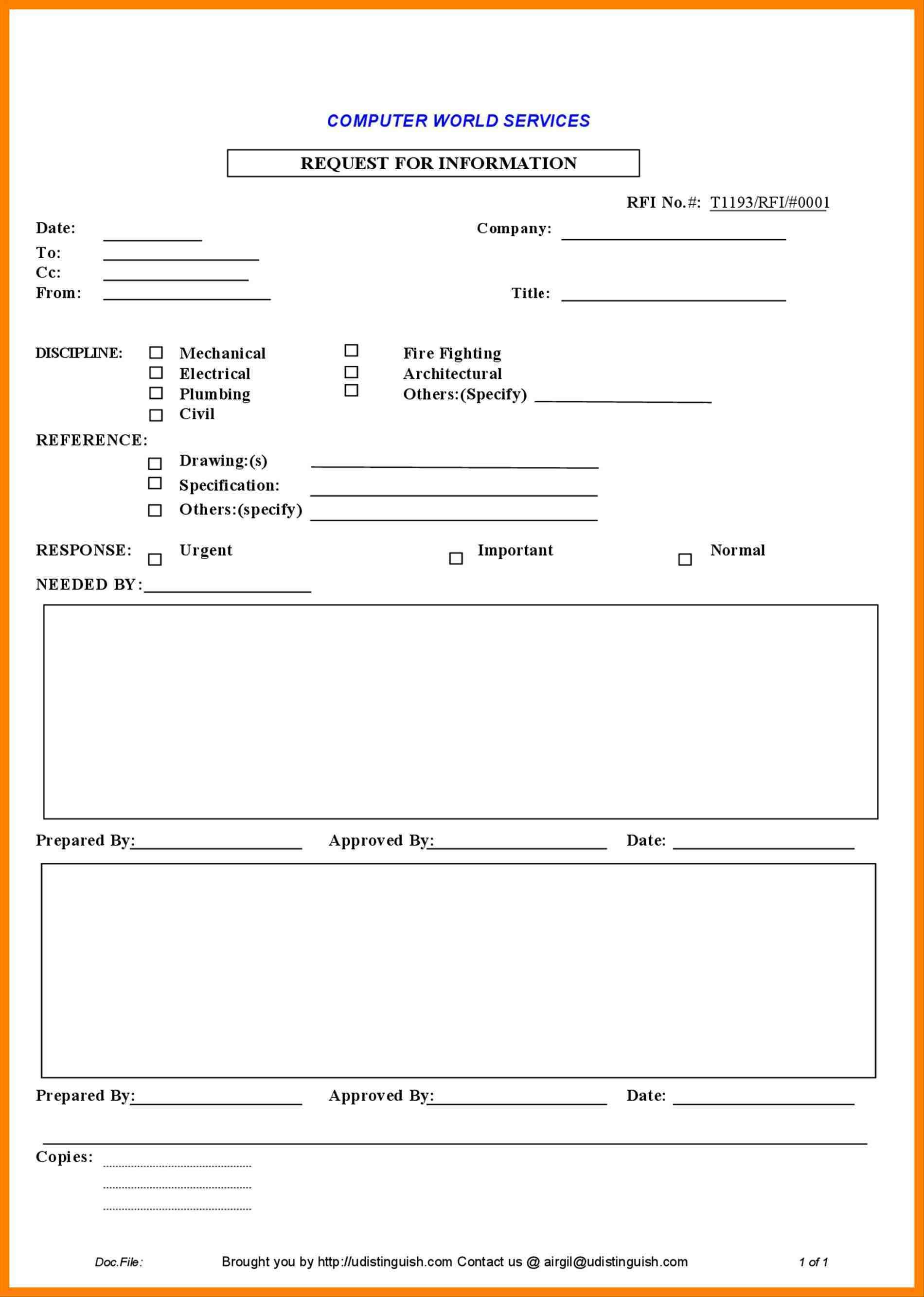 Template For Rfi Excel Template In Rfi Excel Template Printable