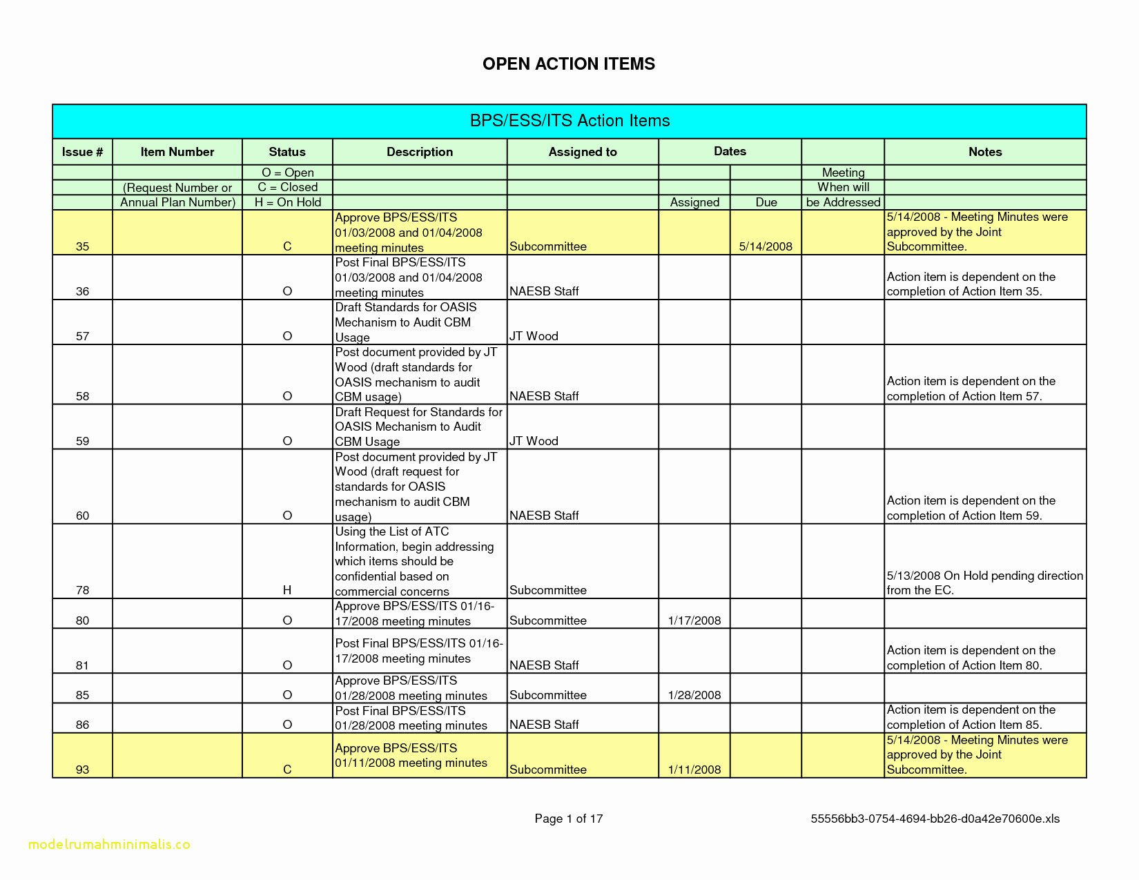 Template For Rolling Action Item List Excel Template And Rolling Action Item List Excel Template Example