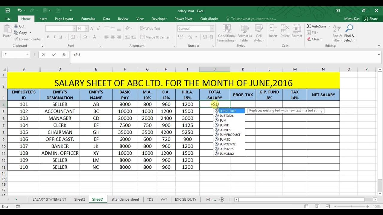 Template For Salary Statement Format In Excel And Salary Statement Format In Excel Download For Free