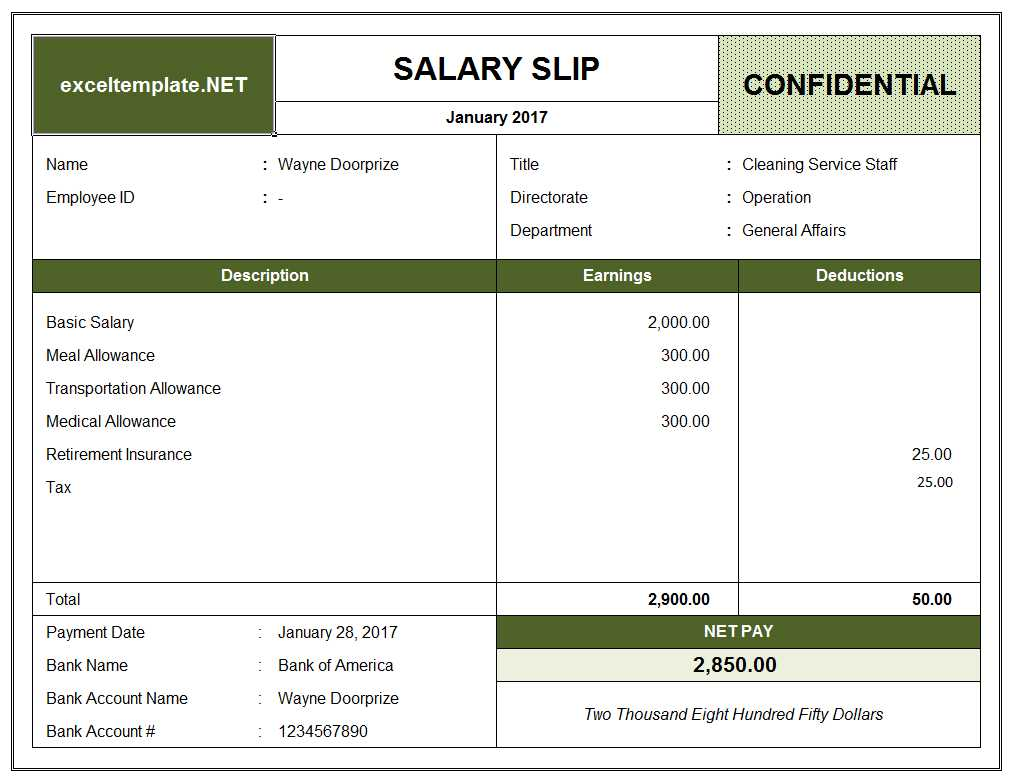 Template For Salary Statement Format In Excel Intended For Salary Statement Format In Excel For Free