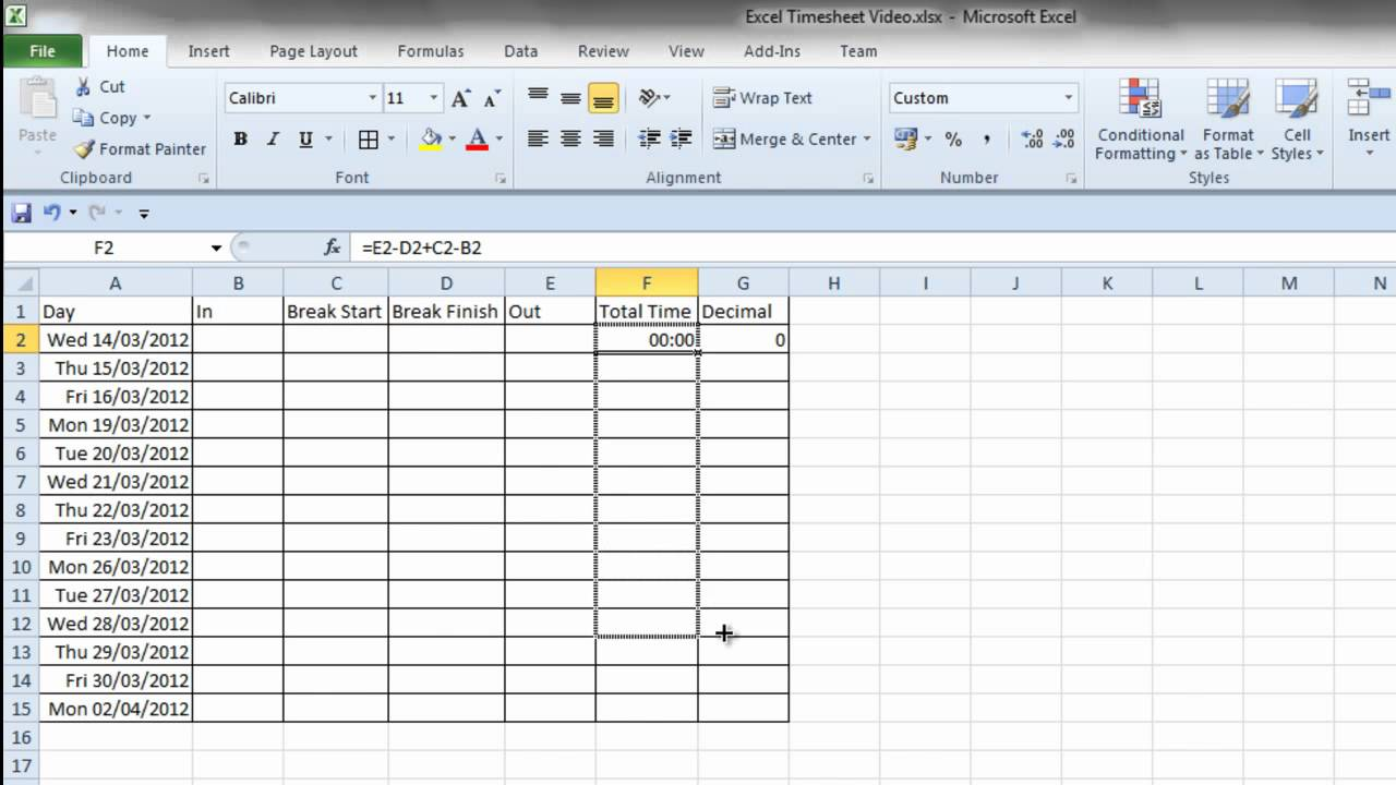 Template For Timesheet Example Excel With Timesheet Example Excel For Personal Use