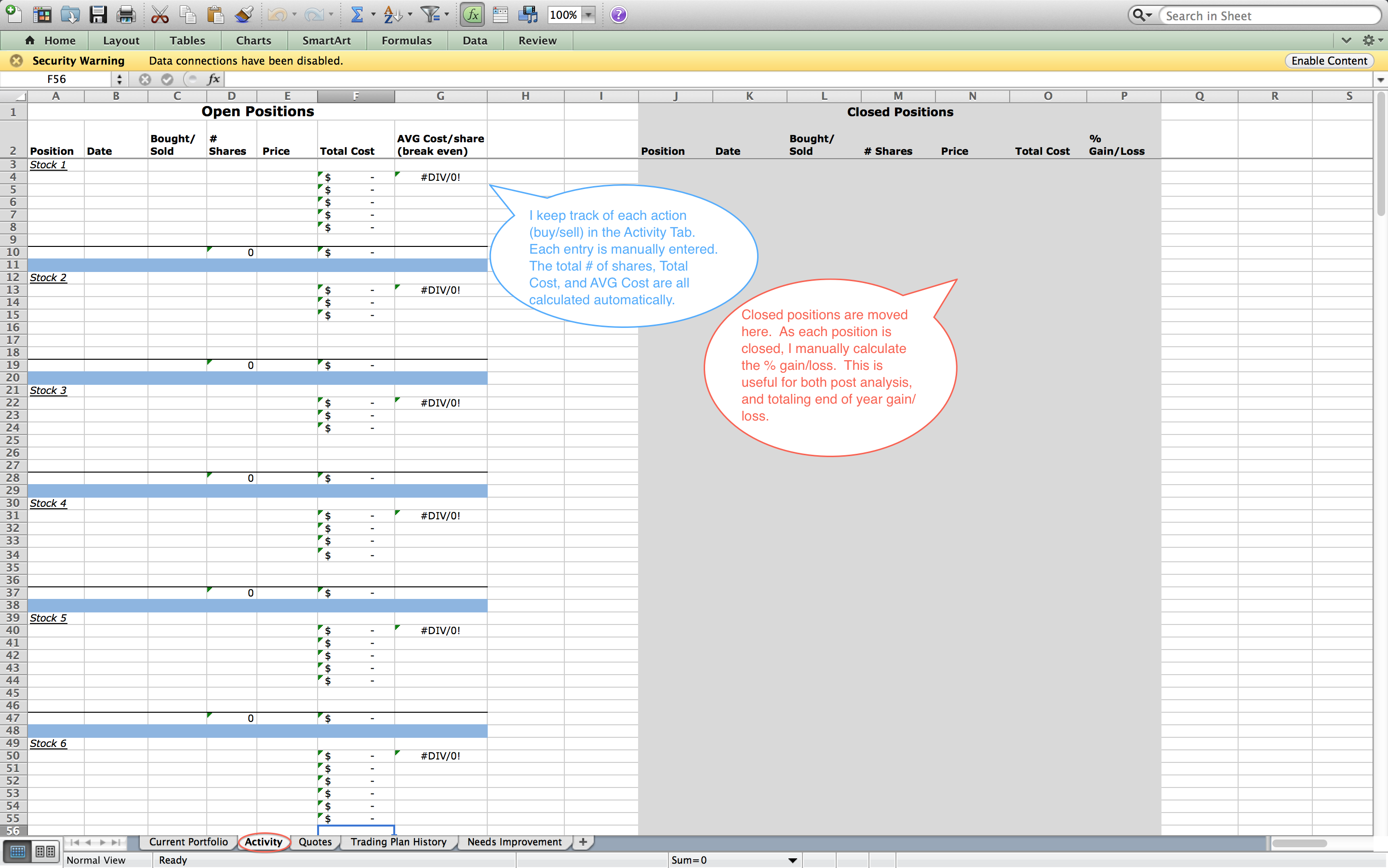 Template For Trading Excel Template Intended For Trading Excel Template Document
