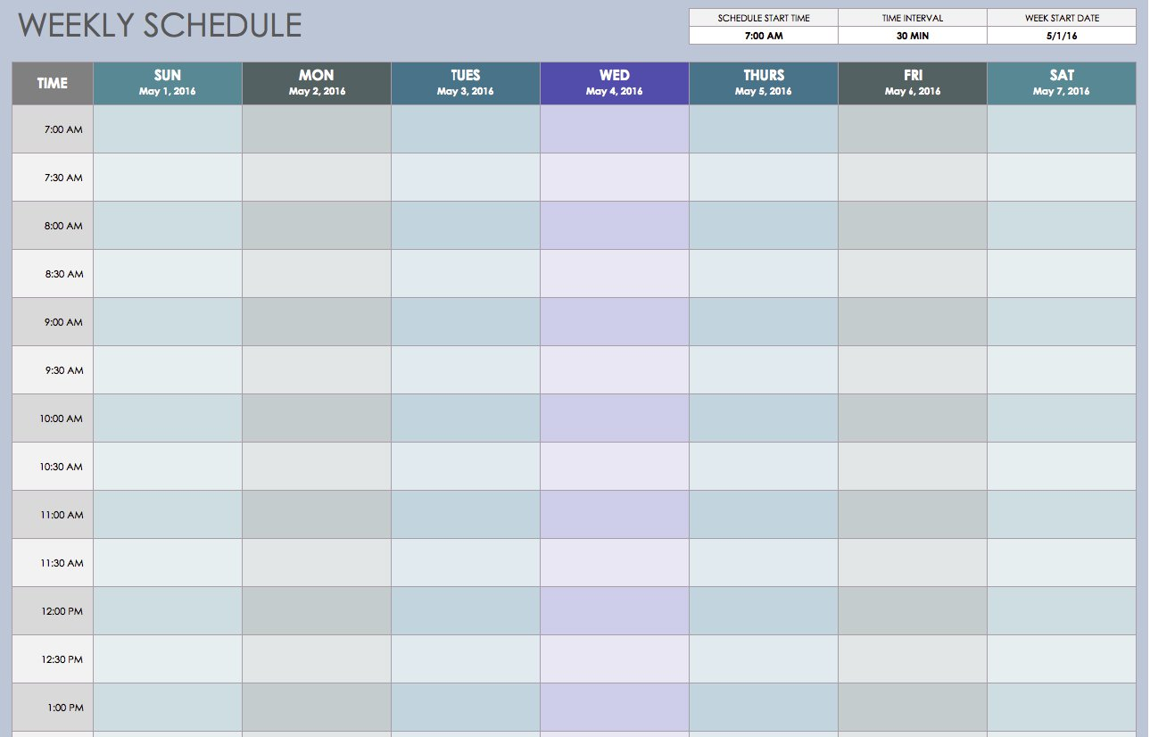 Template For Weekly Schedule Template Excel To Weekly Schedule Template Excel Form