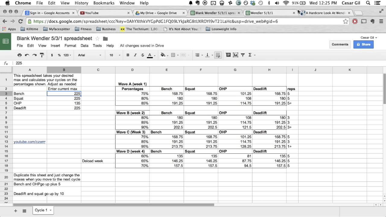 Template for Westside Barbell Program Spreadsheet with Westside Barbell Program Spreadsheet in Workshhet
