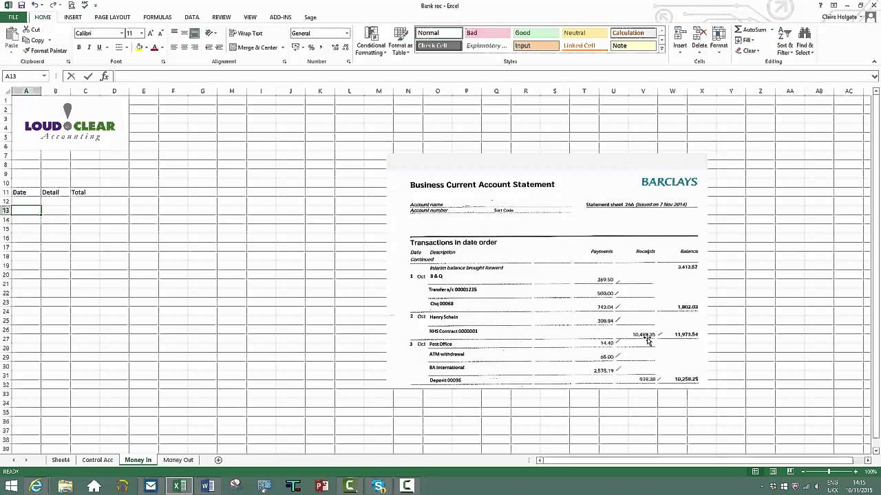 Templates For Bank Recon Template Excel Throughout Bank Recon Template Excel Printable