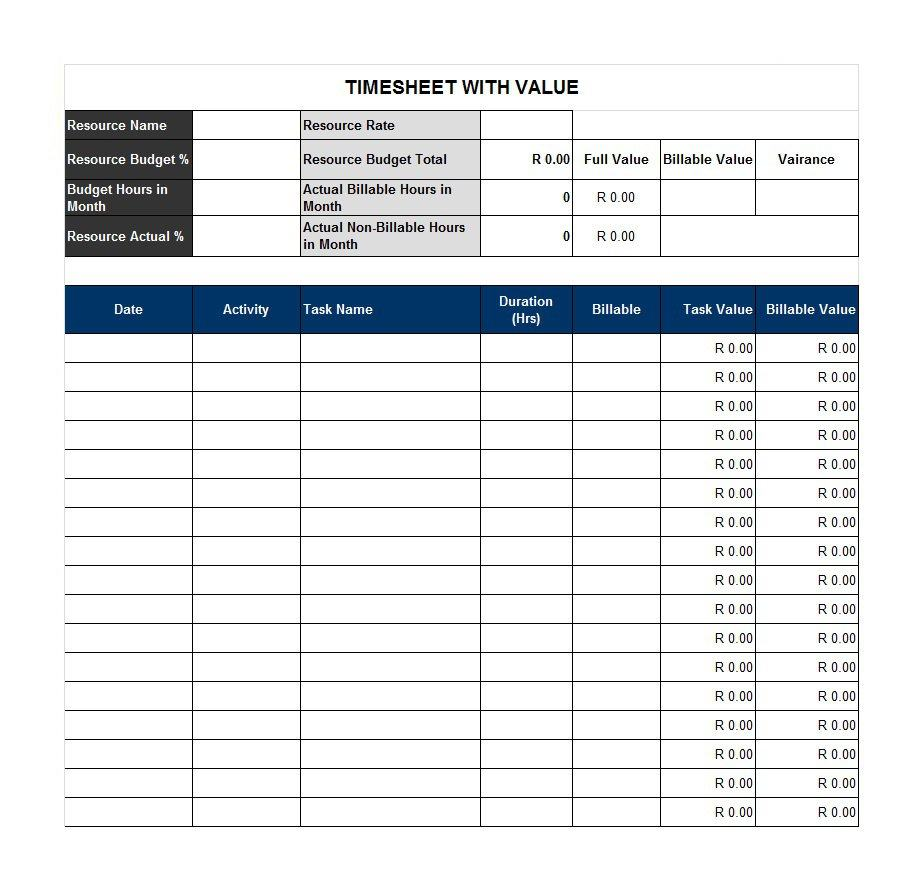 Templates For Basic Timesheet Template Excel With Basic Timesheet Template Excel Free Download