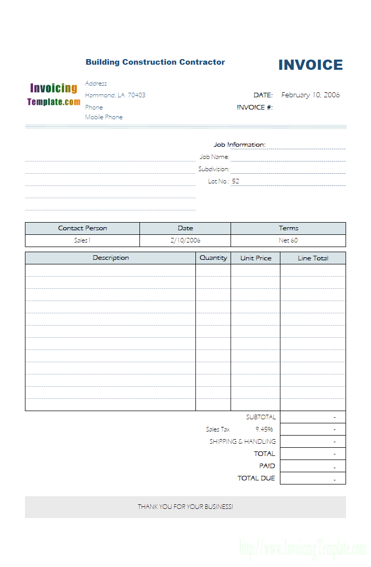 Templates For Construction Invoice Template Excel In Construction Invoice Template Excel Example