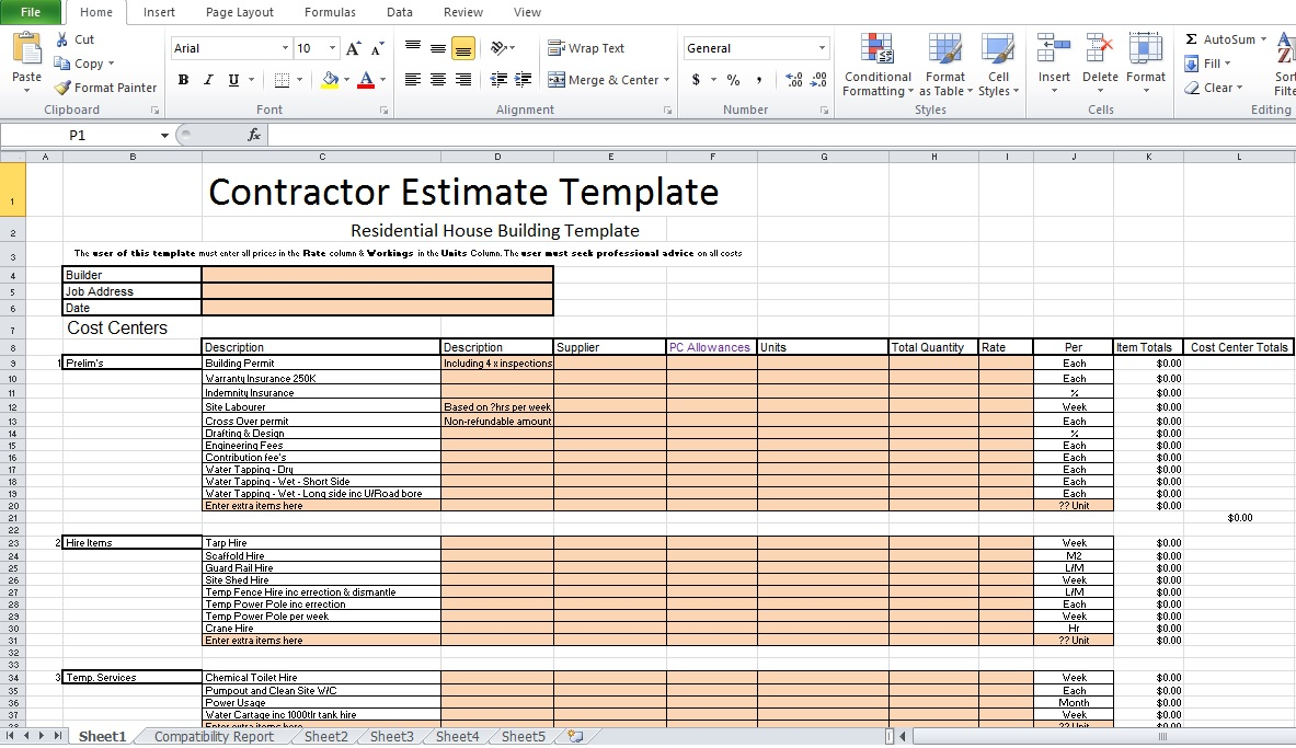 Templates For Estimate Template Excel For Estimate Template Excel Document