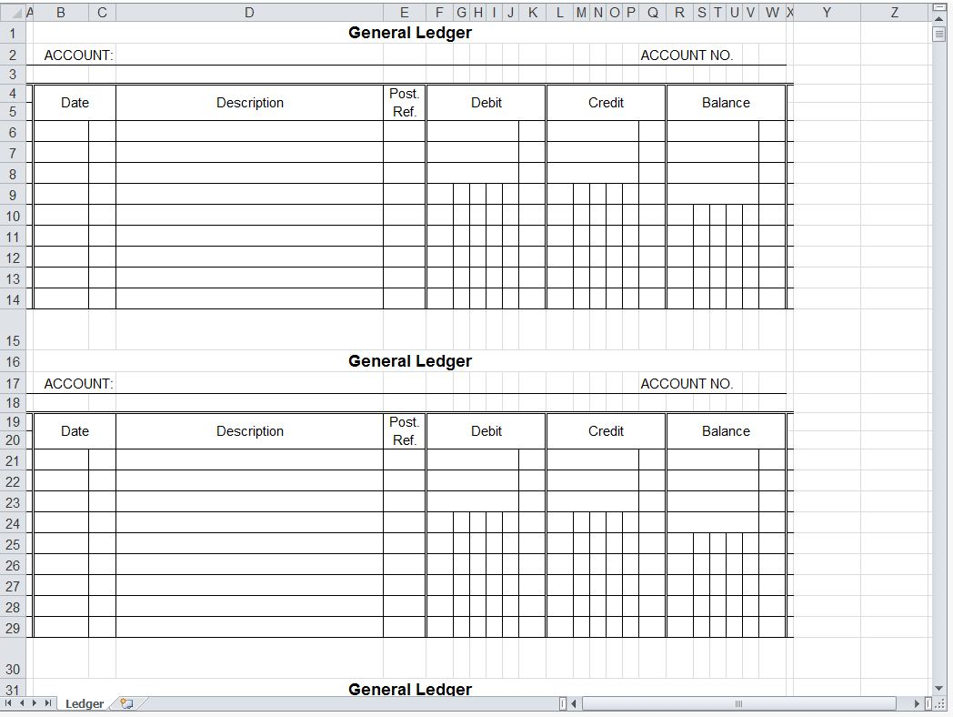 Templates For General Ledger Template Excel And General Ledger Template Excel Samples